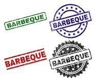 Scratched Textured BARBEQUE Seal Stamps. BARBEQUE seal prints with distress style. Black, green,red,blue vector rubber prints of BARBEQUE text with dust style stock illustration