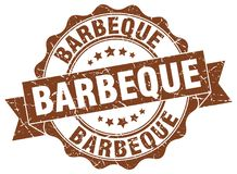 Barbeque seal. Barbeque round ribbon seal isolated on white background vector illustration