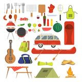 Barbeque set. Collection of equipment for bbq and camping. Pepper, sausage and meat, picnic table and chair. Family weekend outdoor. Vector illustration in stock illustration