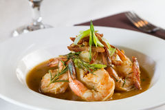 Barbeque Shrimp. A plated dinner of barbecued shrimp Stock Photography