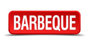 Barbeque button. Barbeque square 3d realistic isolated web button. barbeque royalty free illustration