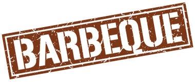 Barbeque square grunge stamp. Barbeque square grunge brown stamp vector illustration
