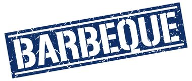 Barbeque stamp. Barbeque square grunge sign isolated on white. barbeque stock illustration
