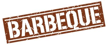 Barbeque stamp. Barbeque square grunge stamp isolated on white background royalty free illustration