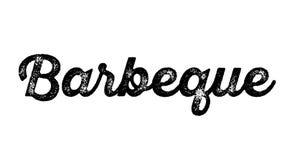 Barbeque stamp on white. Background. Sign, label sticker royalty free illustration