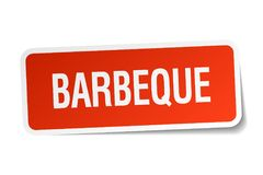 Barbeque sticker. Barbeque square sticker isolated on white background. barbeque stock illustration