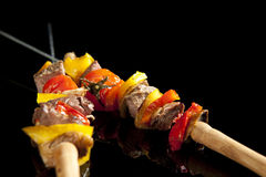 Barbeque sticks. With meat, vegetables and corn Royalty Free Stock Photos
