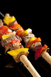Barbeque sticks*. Barbeque sticks with meat, vegetables and corn stock photos