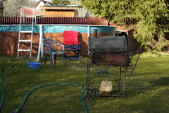 Barbeque And Swimming Pool Stock Images