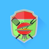 Barbeque. Symbol Isolated on Blue Background. Long Shadow vector illustration