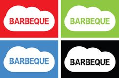 BARBEQUE text, on cloud bubble sign. BARBEQUE text, on cloud bubble sign, in color set vector illustration