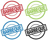BARBEQUE text, on round simple stamp sign. BARBEQUE text, on round simple stamp sign, in color set stock illustration