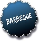 BARBEQUE text written on blue round label badge. Illustration vector illustration