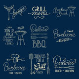 Barbeque typography bages and lables Stock Images