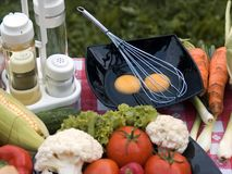 Barbeque vegetables. Fruits and vegetables on table in outdoor environment stock images
