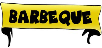 BARBEQUE on yellow ribbon illustration. Graphic concept image royalty free illustration