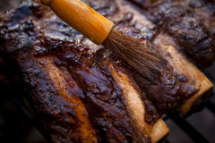 Barbequed beef ribs. Royalty Free Stock Photos