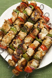 Barbequed kebabs on a plate Royalty Free Stock Photo