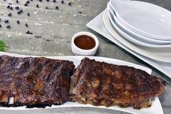 Barbequed Pork Rib Rack Stock Photography