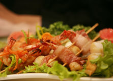Barbequed prawn salad stock photos