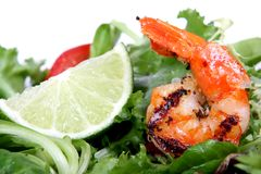 Barbequed prawn salad with shrimp lettuce and green lime. Macro closeup with copy space royalty free stock photos