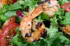 Barbequed prawn salad with shrimp lettuce and green lime Royalty Free Stock Photography