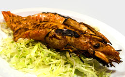 Barbequed Prawns. Barbequed tiger prawns with Japanese sauce royalty free stock images