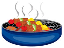 Barbeques cooked above the barbeque grill. Illustration of the barbeques cooked above the barbeque grill on a white background Stock Photo