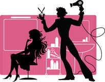 Barber. Silhouetttes of barber and his client at barber shop Stock Illustration