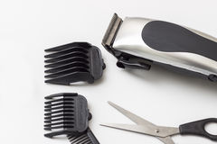 Barber accessories on white table Royalty Free Stock Photo