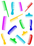 Barber background with many colorful comb Royalty Free Stock Photos