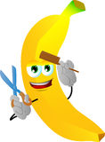Barber banana holding a comb and a scissor Stock Image
