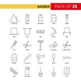 Barber Black Line Icon - insieme dell'icona del profilo di 25 affari royalty illustrazione gratis