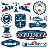Barber Blue Red Labels Lizenzfreies Stockbild