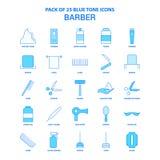 Barber Blue Tone Icon Pack - 25 sistemas del icono libre illustration