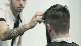 Barber brushing stock footage