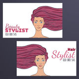 Barber Business Card with a picture of a beautiful girl with developing hair. Empty space for your text. Royalty Free Stock Image