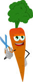 Barber carrot holding a scissor Royalty Free Stock Photos