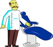 Barber with chair. A barber inviting you to sit on his chair Royalty Free Stock Photos