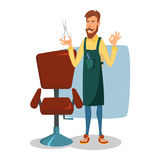 Barber Character Vector. Modern Barber Shop. Classic Lounge Chair. Cartoon Isolated Illustration. Cute Barber Vector. Cartoon Happy Hipster Barber Man vector illustration