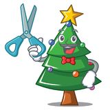 Barber Christmas tree character cartoon. Vector illustration Stock Images