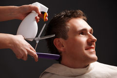 Barber and client Royalty Free Stock Photo