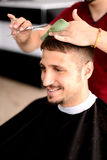 Barber and client Royalty Free Stock Photography