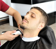 Barber and client Royalty Free Stock Photos