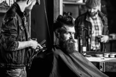 Barber with clipper styling hair of brutal bearded client. Hipster client getting haircut. Hipster lifestyle concept stock image