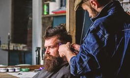 Barber with clipper trimming hair on temple of client. Hipster client getting haircut. Hipster lifestyle concept. Barber. With hair clipper works on hairstyle royalty free stock images