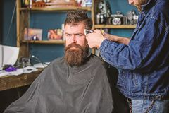 Barber with clipper trimming hair on temple of client. Hipster lifestyle concept. Barber with hair clipper works on. Hairstyle for bearded men barbershop stock photos