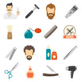 Barber Color Icons Royalty Free Stock Photography