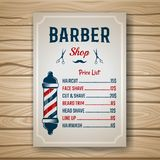 Barber Colored Price. Barber shop colored price or brochure list with prices at the hairstyles and haircuts on table vector illustration vector illustration