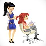 Barber combing cute client girl Stock Image